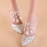 женщины размером 33 каблука оптовых-Плюс размер 33 34 до 40 41 42 Золушка Rhinestone Свадебная обувь люкс Женщины Дизайнерская обувь 7см Sexy Высокие каблуки приходят с коробкой