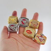 Wholesale china cup gift set for sale - Group buy 6pcs CALGARY STAMPEDERS GREY CUP CFL CHAMPIONSHIP RING with Wooden Display Box Souvenir Men Fan Gift Drop Shipping