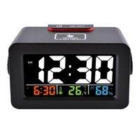 светодиодный гигрометр оптовых-Идея подарка прикроватные просыпаются цифровой светодиодный будильник с термометром гигрометр влажность температура стол Настольные часы телефон зарядное устройство