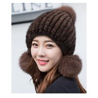 Wholesale fox bomber hats for sale - Group buy Fur Hat for Women Natural Knitted Russian Hats Winter Thick Warm Ears Fashion Aviator trapper Fox Fur Bomber Snow Cap