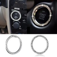 ücretsiz gönderimi değiştir toptan satış-2017 Araba SUV Bling Dekoratif Aksesuarları 40mm çap Düğme Başlat Anahtarı Gümüş Elmas Yüzük Sıcak Ücretsiz Kargo