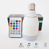controlador led inalámbrico inteligente al por mayor-Nueva lámpara led RGB E27 110V 220V RGBW bombilla led 7W Altavoz Bluetooth inalámbrico Música Inteligente led luz de la noche 24 teclas de control remoto