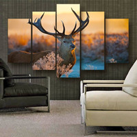 ingrosso dipinti a olio astratti strutturati-5pcs / set Big Deer Wall Art Pittura a olio su tela (senza cornice) Animal Textured Abstract Paintings Picture Living Room Decor