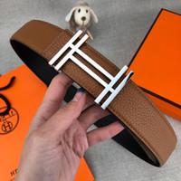 ingrosso cinture di marca designer marrone-Cinture di moda per uomo Cintura di lusso per uomo Cinture di marca Lettere casuali Fibbia liscia Marrone 3 Stili Larghezza 38mm Alta qualità con scatola