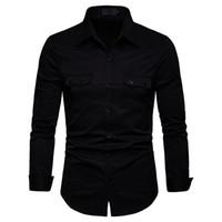 i̇ngiliz giyim eşyası erkekleri toptan satış-FeiTong Bahar Gömlek Erkekler Uzun Kollu Gömlek Artı Boyutu Rahat Erkek Giyim Erkekler Için 2019 Hawaii Gömlek İngiliz Tarzı E19125