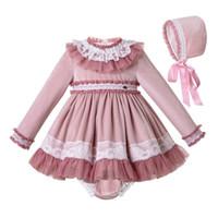 bebeğim kız pembe set toptan satış-Pettigirl Güz Pembe Pileli Bebek Kız Elbise + PP Pantolon + Bonnet 3 Parça Set Butik Kızlar Parti Elbise Çocuk Giysileri Setleri G-DMCS206-A348