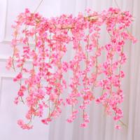 efeu hochzeit dekorationen großhandel-Sakura Kirschblüte Rattan Hochzeit Bogen Dekoration Vine künstliche Blumen für Haus Garten Dekor DIY Silk Ivy Wandbehang Garland Kranz