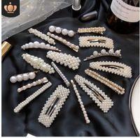 perlas de horquilla al por mayor-Diseño Negro Hermosas Perlas Simuladas Horquillas Joyería Cabello Plátanos Accesorios para Mujeres