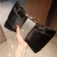 Wholesale clutch bags for prom for sale - Group buy 2019 Bow Women Bridal Hand Bags For Prom Party Gold Beads Crystal Evening Clutches Chain Bag Black In Stock Bridal Party Hand Bags