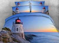 ingrosso biancheria da letto-Set copripiumino Ocean Lighthouse Nature Rocks Waves Rising Sun Beach Island Seascape Theme Set di biancheria da letto in mongolfiera a 3 pezzi