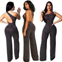 abacbff3c3f Sequins Silk Asymmetrical One Shoulder Loose Jumpsuit Women Sexy Sleeveless Open  Back Romper Wide Leg Pants Club Outfits