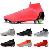 элитный оранжевый футбол оптовых-Уличная обувь Mercurial Superfly VI 360 Elite CR7 Neymar FG футбольные бутсы Crampons de football SuperflyX Роналду оранжевый C021