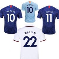 futebol qualidade tailandesa azul venda por atacado-Tamanho S-3XL Perigo GIROUD KANTE casa azul longe branco 3 camisa de futebol WILLIAN JORGINHO PULISIC camisa de futebol de qualidade thai 19 20