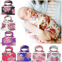 Wholesale color girl bedding for sale - 7 NEW Kids Muslin Swaddles Ins Wraps Blankets Nursery Bedding Newborn Organic Cotton summer Floral Print Swaddle Headband two piece sets