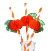 papier en papier bébé achat en gros de-12 pcs 3D orange dessins papier pailles à boire décoration de mariage fête de naissance de bébé douche célébration Hawaii Carnaval Fournitures de fête