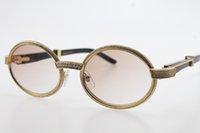 Wholesale frames len for sale - Group buy Full Frame Smaller Stones glasses Black Buffalo Horn Sunglasses Round Vintage Unisex SunGlasses glasses Brown Len