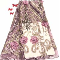 tecidos de flores frisados venda por atacado-Francês frisado lace tecidos 2019 3d flor lantejoulas tecido de luxo lantejoulas tecido de renda nupcial 5 metros