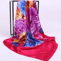 fabrique de fleurs en soie achat en gros de-Nouveau printemps et automne dames imprimées 90cm carrés fleurs en soie foulards en soie Hangzhou foulards en soie usine en gros