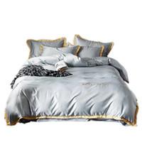 edredones de lino de algodón de lujo al por mayor-cubierta de cama de algodón de seda bordada lavado de estilo europeo, cuatro juegos de sábanas de lujo sencilla cubierta del edredón del lecho del algodón