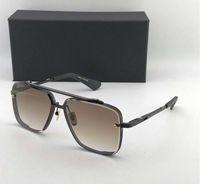 ingrosso occhiali da sole di gradiente nero del progettista-Occhiali da sole quadrati neri 121 opaco Occhiali da sole marrone Occhiali da sole Occhiali da sole firmati da uomo Nuovi con scatola