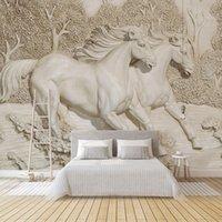 dekoration weißes pferd großhandel-Gewohnheit irgendeine Größe Tapete Tapete 3D Geprägte White Horse Tapete Wohnzimmer Schlafzimmer Sofa TV-Ausgangsdekoration Hintergrund Mural