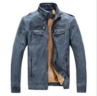 taklit kürk kaplı kışlık ceket toptan satış-Erkek Faux Deri Ceket Tam Fermuar Kalın Kürk Çizgili Yaka Faux PU Deri Kış Ceket Erkekler için