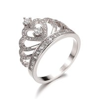 Wholesale ring crown shape resale online - Women Fashion Shape Wedding Engagement Bridal Princess Crown Ring Jewelry
