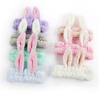 bunny ear headband toptan satış-Kadın Kızlar Flanel Tavşan kulakları bantlar Yıkama yüz makyaj bunny kulakları Prenses Saç bandı Butik Saç Aksesuarları 7 renkler Bandanalar C5983