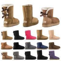 designer boot schnee groihandel-2020 neue Designer Stiefel Australien Frauen Mädchen klassische Schneeschuhe Bowtie Knöchel kurze Bogen Pelzstiefel für Winter schwarz Chestnut Mode Größe 36-41