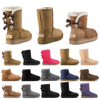 Wholesale short beige boots for sale - Group buy 2020 New designer boots Australia women girl classic snow boots bowtie ankle short bow fur boot for winter black Chestnut fashion size