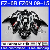 carenado fz6r negro al por mayor-Cuerpo para YAMAHA FZ6N FZ6 R FZ 6N FZ6R 09 10 11 12 13 14 15 239HM.1 FZ-6R FZ 6R Negro brillante CALIENTE 2009 2010 2011 2012 2013 2014 2015 Carenados