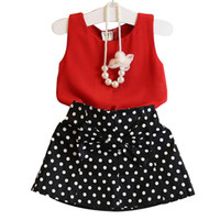 Wholesale suit red bow for sale - Group buy Kids Girls Clothing Sets Red Skirts Chiffon Sleeveless Top Dot Printed Bow Skirts Kids Designer Clothes Two Piece Suit Elastic Skirts