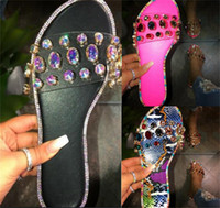 Wholesale ladies glitter shoes resale online - New Summer Women Crystal Slippers Sandals Glitter Flat Soft Bling Female Candy Color Flip Flops Indoor Ladies Slides Hot Beach Shoes D62204