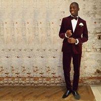 laço de borboleta de borgonha dos homens venda por atacado-Bonito Borgonha Corduroy Mens Ternos Um Botão de Lapela Pico 2 Peça Groomwear Custom Made Groomwear (Jacket + Pants + Bow Tie)