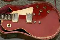 pro alter großhandel-Custom Shop 1959 Heavy Relic Rote Crimson Aged Top E-Gitarre Schwarzer Rücken, Einteiliger Nackenkörper, Kleine Pin Tone Pro Bridge, Tulip Tuner