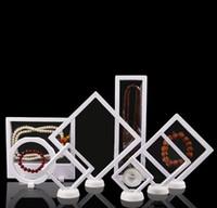 rack de jóias para colares venda por atacado-PET Membrana Acessórios Jóias Colar Pingente de Embalagem 3D Display Bag Bague Jóias Apresentação Stand Holder Rack 9 * 23 cm