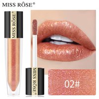 Wholesale luxury lip resale online - New Professional Lip Makeup MISS ROSE Mermaid Shimmer Lipstick Luxury Pigment Nude Lip Glaze Makeup Cosmetics