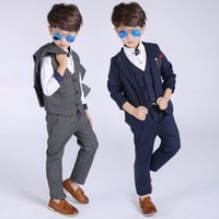 chicos trajes formales para bodas al por mayor-3PCS Blazers Boy Suit For Weddings Prom Formal Primavera Otoño Gris / Azul 3PCS Vestido Wedding Boy Trajes (Jacket + Pants + Vest)