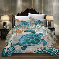 o quarto de cama 3d define o tamanho king completo venda por atacado-Thumbedding Conjunto de Cama de Animais King Size Capa de Edredão de Tartaruga 3D Gêmeo Rainha Completa Único Mar Duplo Capa de Cama Decorativa Com Fronha
