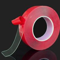 einseitige büroklebebänder großhandel-Roter transparenter Silikon-doppelseitiger Klebeband-Aufkleber für das Auto hochfest keine Spuren klebender Aufkleber-lebende Waren 2016