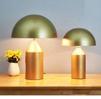 siyah ledli masa lambası toptan satış-İskandinav İtalya Moda Beyaz Siyah Altın Metal Mantar Masa Lambası Yatak Odası Oturma Odası Otel Masa Lambaları Ofis Çalışma Lambası