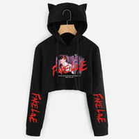jersey kpop al por mayor-Love Yourself Tear Fake Love Kpop Sudadera corta de manga larga Sudadera Mujer Kawaii Cat Hooded Pullover Tops