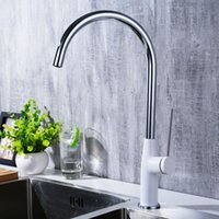 Wholesale painting faucets white online - Chrome Plated Brass Kitchen Faucets Hot And Cold Water Mixers White Black Paint Rounded Water taps