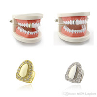 Wholesale dental teeth models for sale - Group buy Gold Silver Rhinestone Smoothy Teeth Grillz With Wax Model Vampire Iced Out Hip Hop Jewelry Stainless Steel Jewelry Body Jewelry