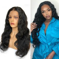 Wholesale inch curly human hair wigs for sale - Group buy Body Wave x6 Lace Front Human Hair Wigs inch Invisible Fake Scalp HD Transparent Brazilian Frontal Wig Black
