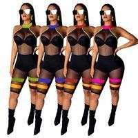 ingrosso bodysuit nero stretch-HISIMPLE 2019 Fashion Mesh Sporting Body Donna Fitness Stretch Sexy Tute Backless Candy Ped Nero Patchwork Scava Fuori Tuta
