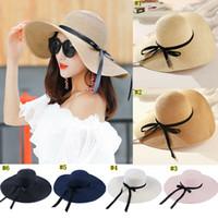 Wholesale sun hats for ladies online - round Top Raffia Wide Brim Straw Hats Summer Sun Hats for Women With Leisure Beach Hats Lady Flat Gorras MMA1484