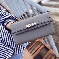 bloquear carteras al por mayor-Las nuevas mujeres cierran el estilo largo de las carteras del diseñador de la señora del teléfono monederos de moda femenina de múltiples tarjetas de embrague negro / rosa / naranja / gris claro no1128