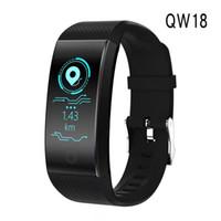 импульс умных часов оптовых-2019 Qw18 смарт браслет интеллектуальный спортивный браслет Фитнес сна трекер IP68 импульсные часы открытый Smartband ПК fitbit STY171