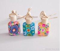 pequenas garrafas de barro venda por atacado-Polymer Clay frasco de perfume vazio pequeno perfume recarregáveis garrafa carro de impressão colorida LJJK1144 Pendant Frasco de perfume
